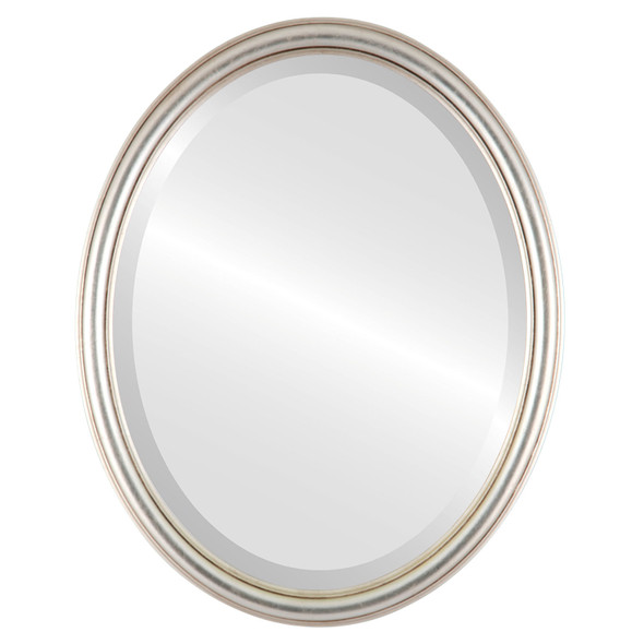 Beveled Mirror - Saratoga Oval Frame - Silver Leaf with Brown Antique