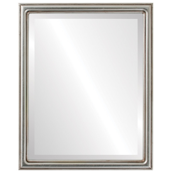 Beveled Mirror - Saratoga Rectangle Frame - Silver Leaf with Brown Antique