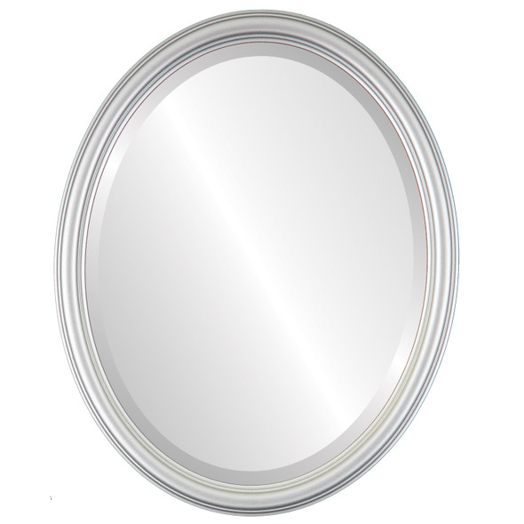 Beveled Mirror - Saratoga Oval Frame - Silver Spray