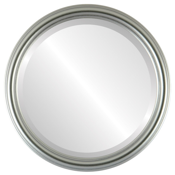 Beveled Mirror - Saratoga Round Frame - Silver Spray
