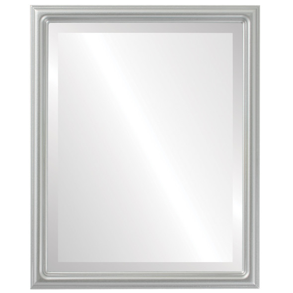 Beveled Mirror - Saratoga Rectangle Frame - Silver Spray
