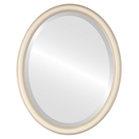 Beveled Mirror - Saratoga Oval Frame - Taupe