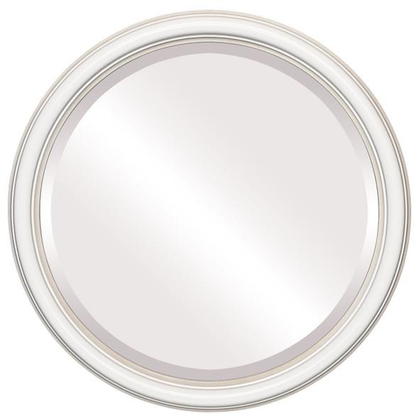 Beveled Mirror - Saratoga Round Frame - Taupe