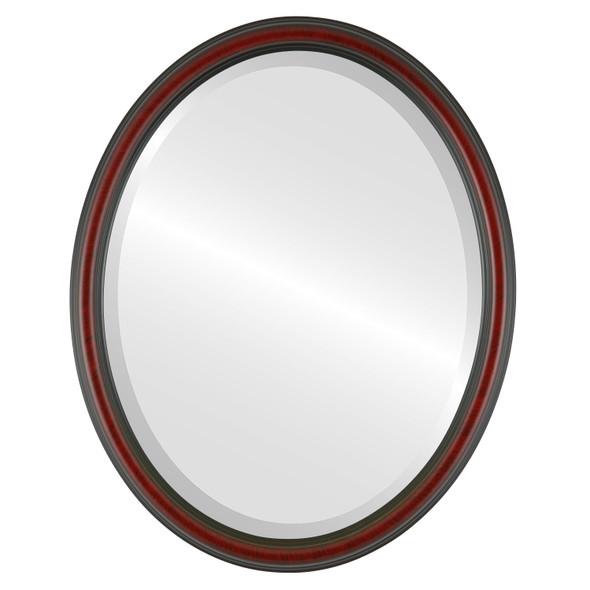 Beveled Mirror - Saratoga Oval Frame - Vintage Cherry