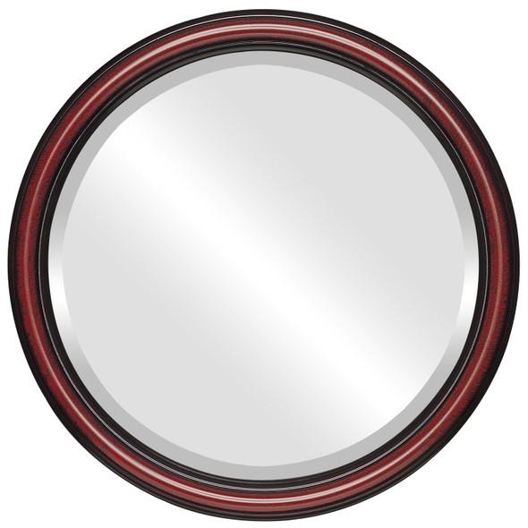 Beveled Mirror - Saratoga Round Frame - Vintage Cherry