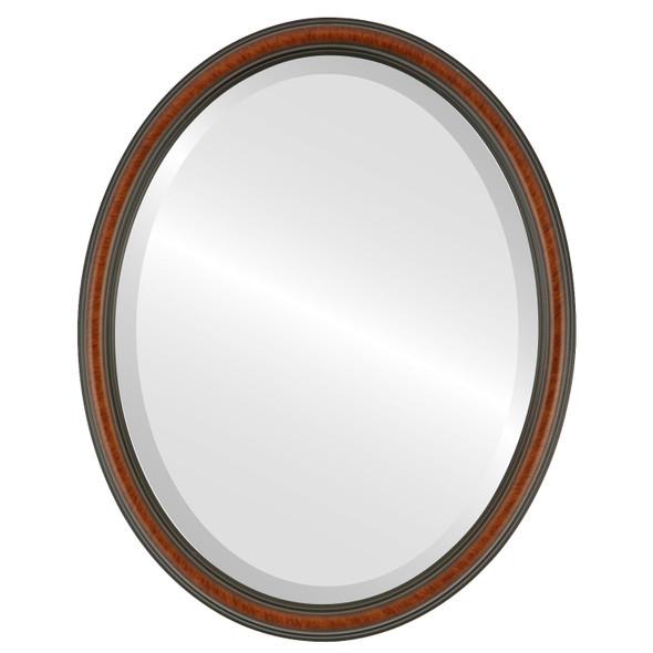 Beveled Mirror - Saratoga Oval Frame - Vintage Walnut
