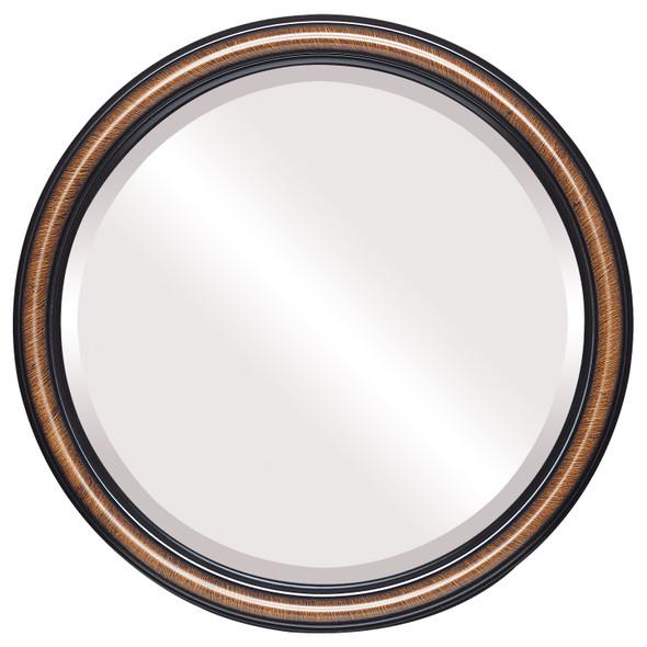 Beveled Mirror - Saratoga Round Frame - Vintage Walnut