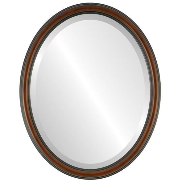 Beveled Mirror - Saratoga Oval Frame - Walnut