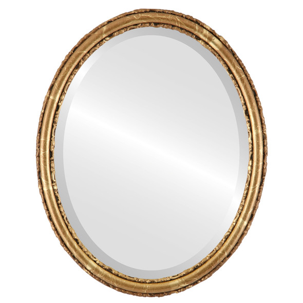 Beveled Mirror - Virginia Oval Frame - Champagne Gold