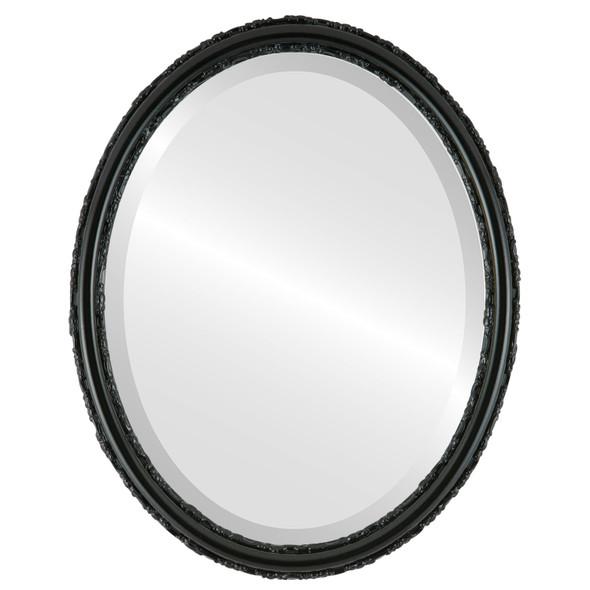 Beveled Mirror - Virginia Oval Frame - Gloss Black