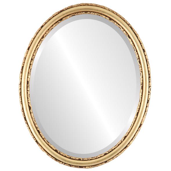 Beveled Mirror - Virginia Oval Frame - Gold Leaf