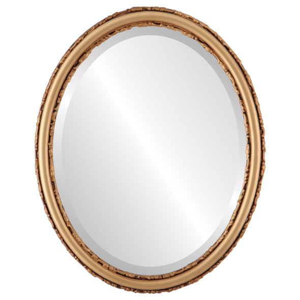 Beveled Mirror - Virginia Oval Frame - Gold Spray