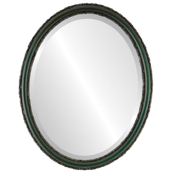 Beveled Mirror - Virginia Oval Frame - Hunter Green