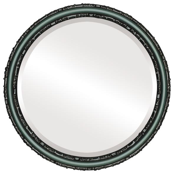 Beveled Mirror - Virginia Round Frame - Hunter Green