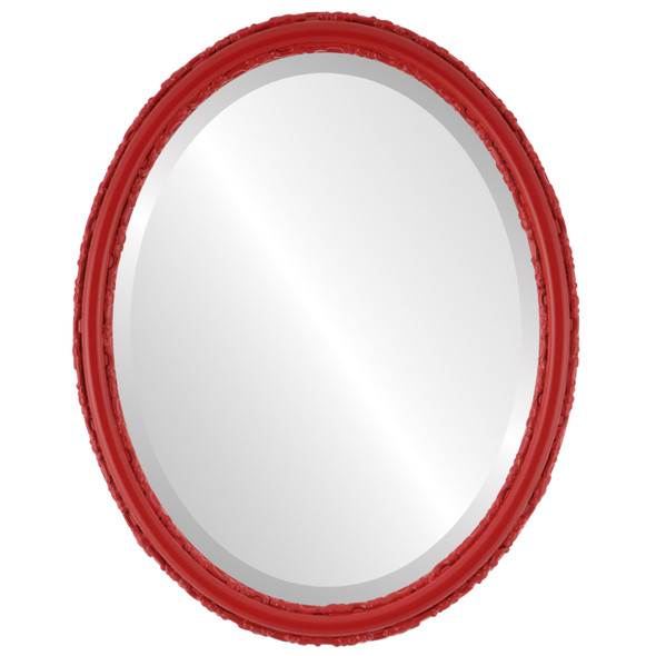 Beveled Mirror - Virginia Oval Frame - Holiday Red