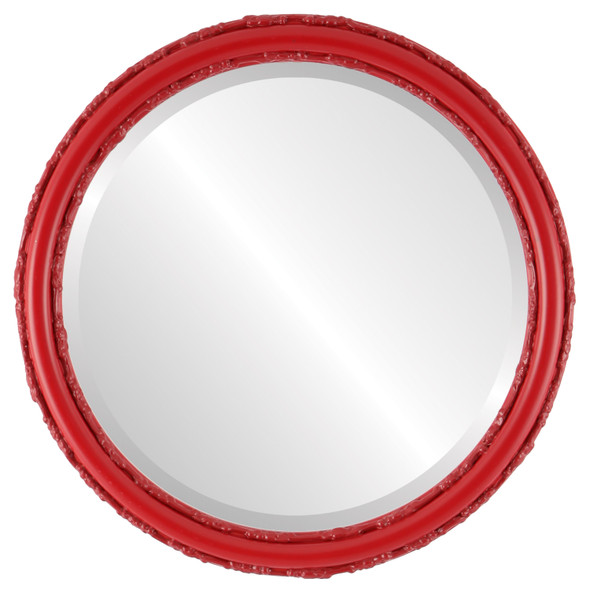 Beveled Mirror - Virginia Round Frame - Holiday Red