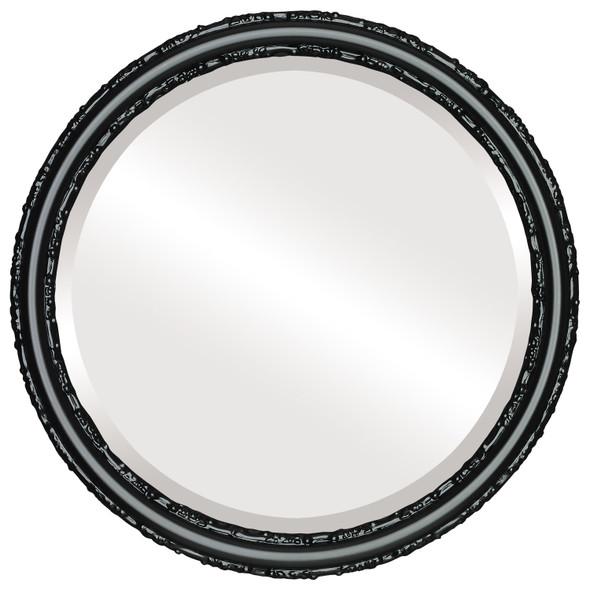 Beveled Mirror - Virginia Round Frame - Matte Black