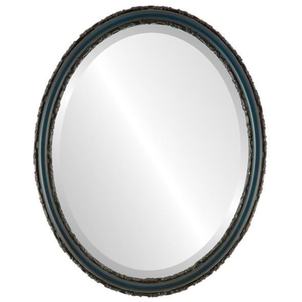 Beveled Mirror - Virginia Oval Frame - Royal Blue