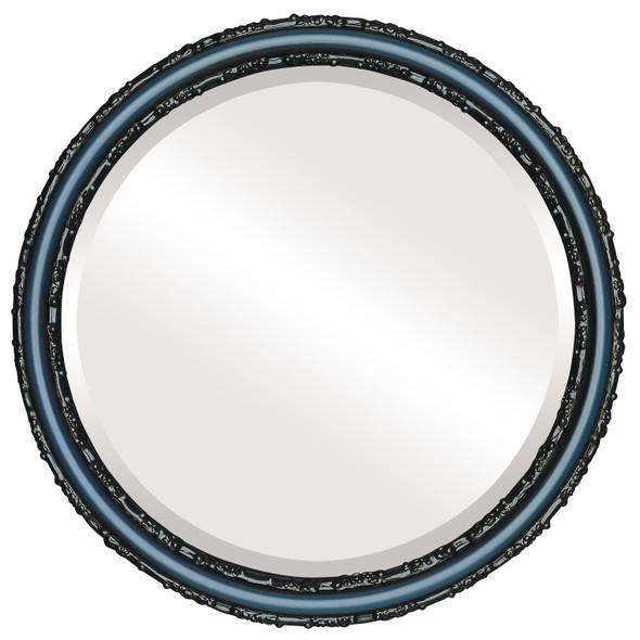 Beveled Mirror - Virginia Round Frame - Royal Blue