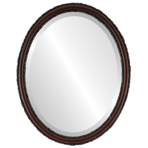 Beveled Mirror - Virginia Oval Frame - Rosewood