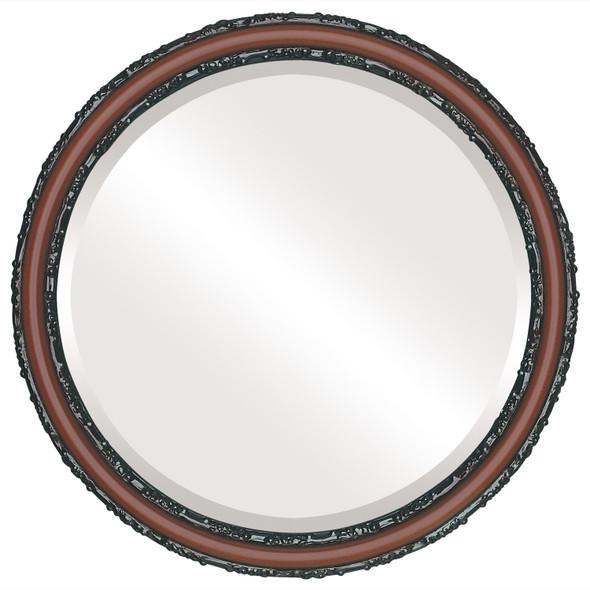 Beveled Mirror - Virginia Round Frame - Rosewood