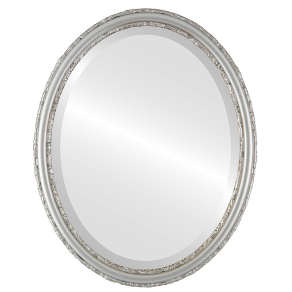 Beveled Mirror - Virginia Oval Frame - Silver Shade