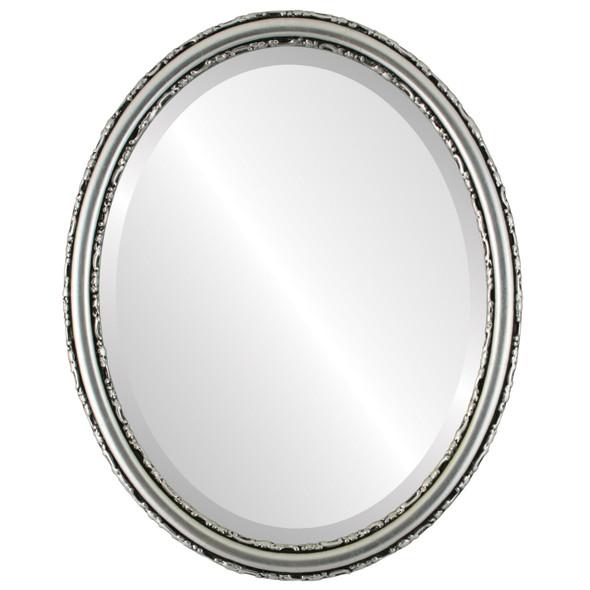 Beveled Mirror - Virginia Oval Frame - Silver Leaf with Black Antique