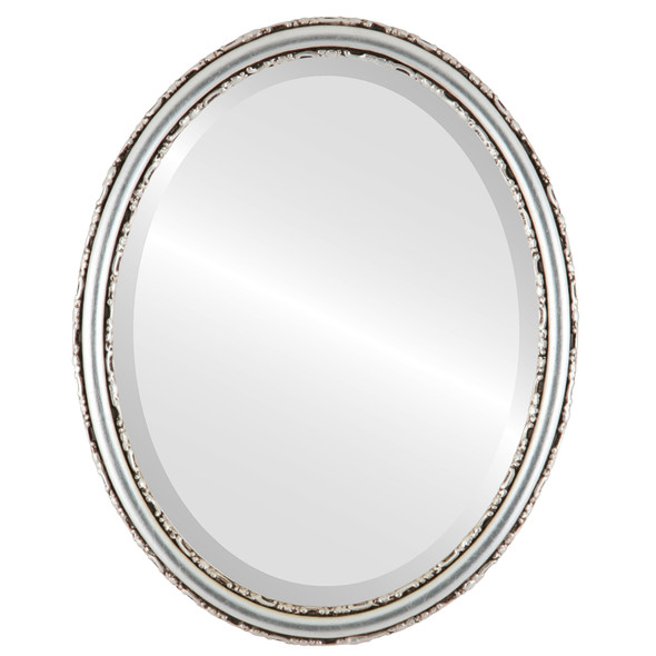 Beveled Mirror - Virginia Oval Frame - Silver Leaf with Brown Antique