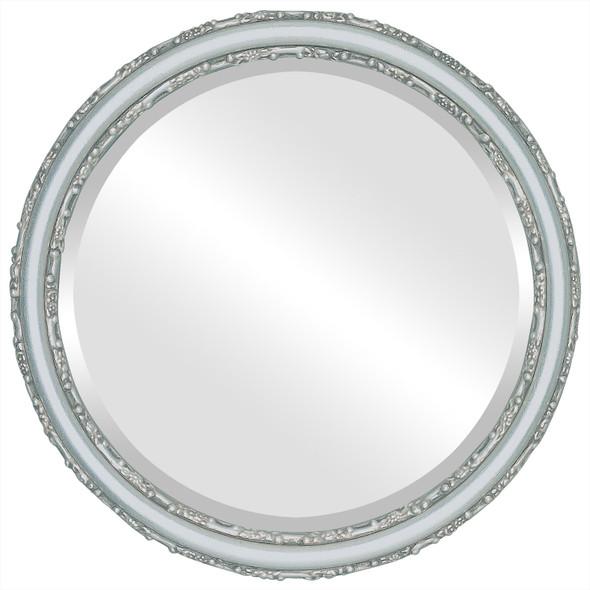 Beveled Mirror - Virginia Round Frame - Silver Leaf with Brown Antique