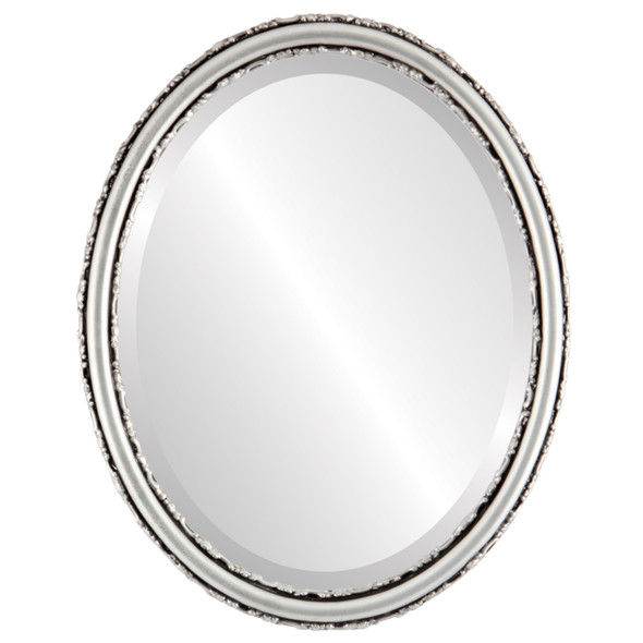 Beveled Mirror - Virginia Oval Frame - Silver Spray