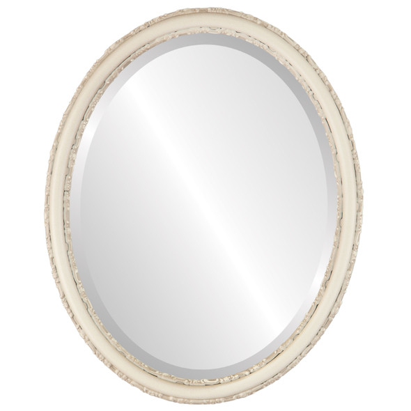 Beveled Mirror - Virginia Oval Frame - Taupe
