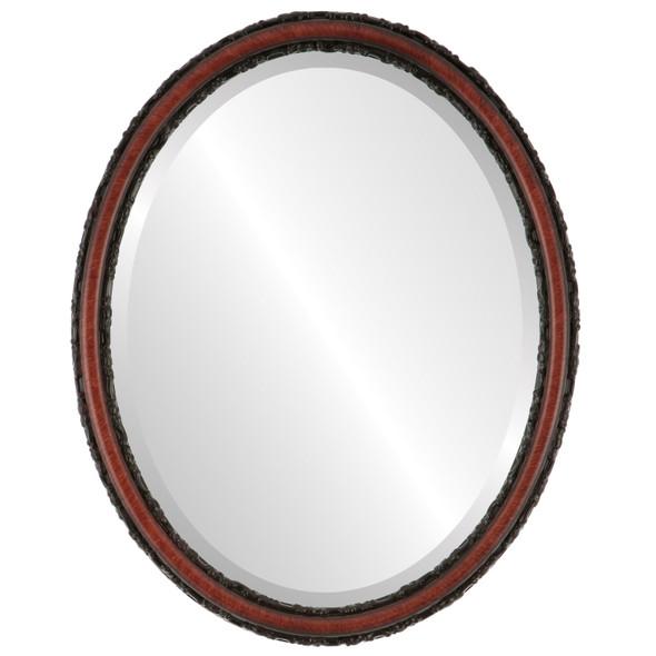 Beveled Mirror - Virginia Oval Frame - Vintage Cherry