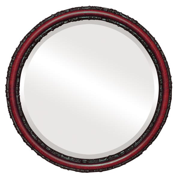 Beveled Mirror - Virginia Round Frame - Vintage Cherry