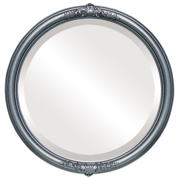 Beveled Mirror - Contessa Round Frame - Black Silver