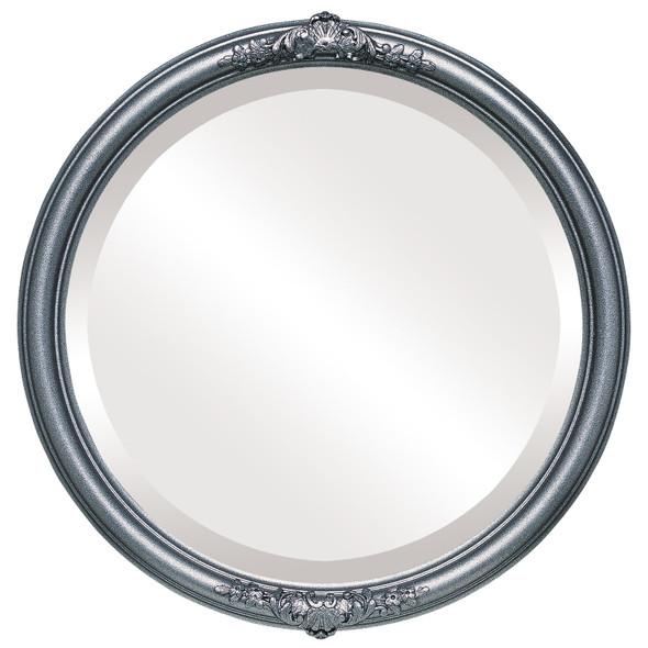 Beveled Mirror - Contessa Round Frame - Black Silver
