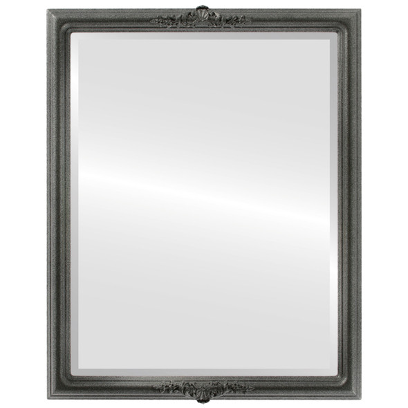 Beveled Mirror - Contessa Rectangle Frame - Black Silver