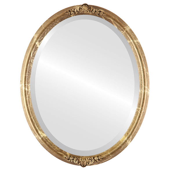Beveled Mirror - Contessa Oval Frame - Champagne Gold