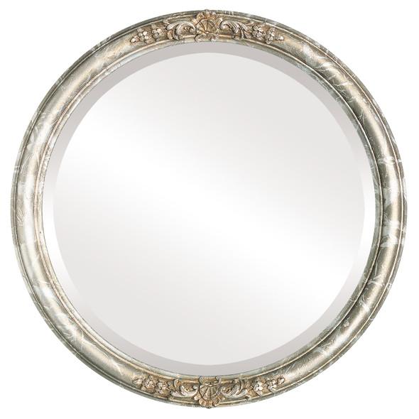 Beveled Mirror - Contessa Round Frame - Champagne Silver
