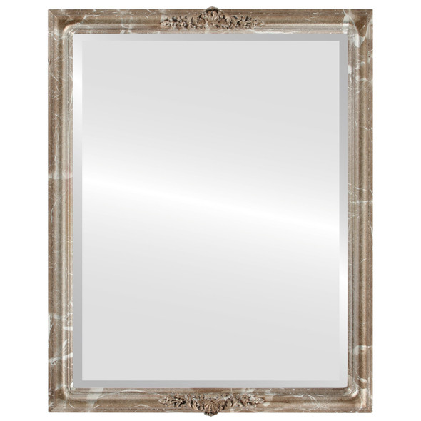 Beveled Mirror - Contessa Rectangle Frame - Champagne Silver