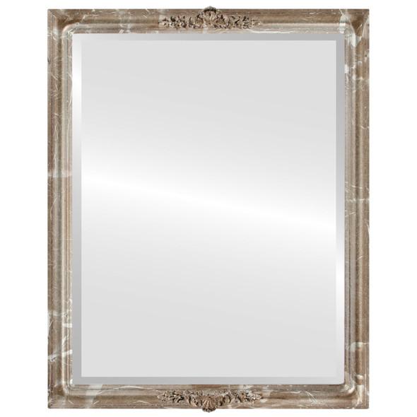 Beveled Mirror - Contessa Rectangle Frame - Champagne Silver