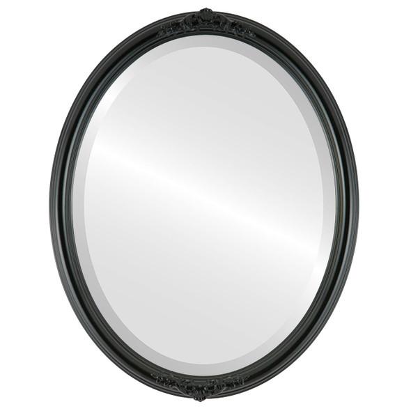 Beveled Mirror - Contessa Oval Frame - Gloss Black