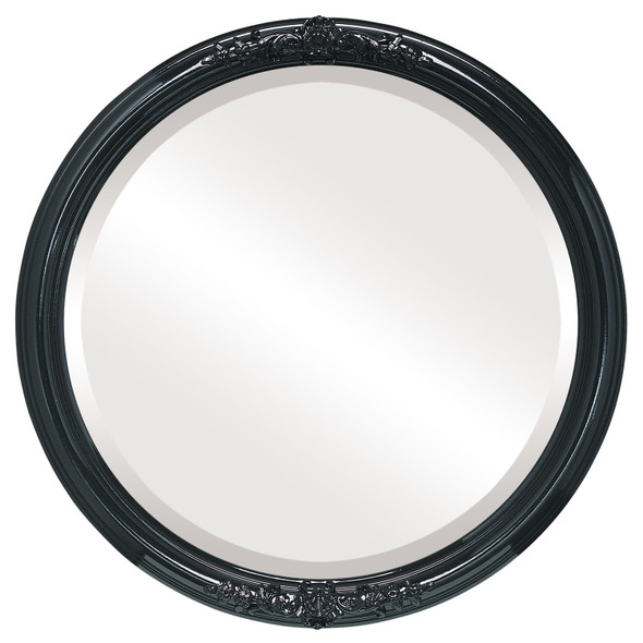 Beveled Mirror - Contessa Round Frame - Gloss Black