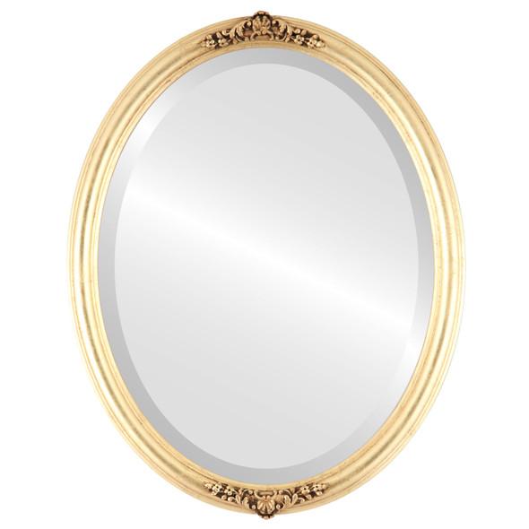 Beveled Mirror - Contessa Oval Frame - Gold Leaf