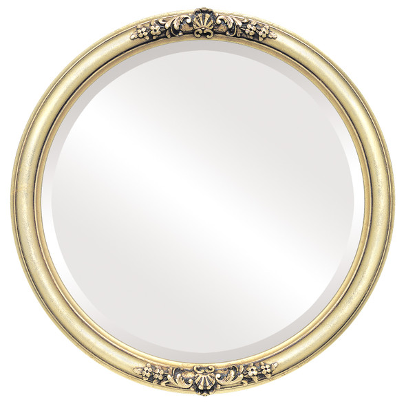 Beveled Mirror - Contessa Round Frame - Gold Leaf