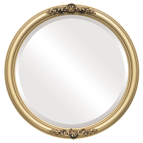 Beveled Mirror - Contessa Round Frame - Gold Spray