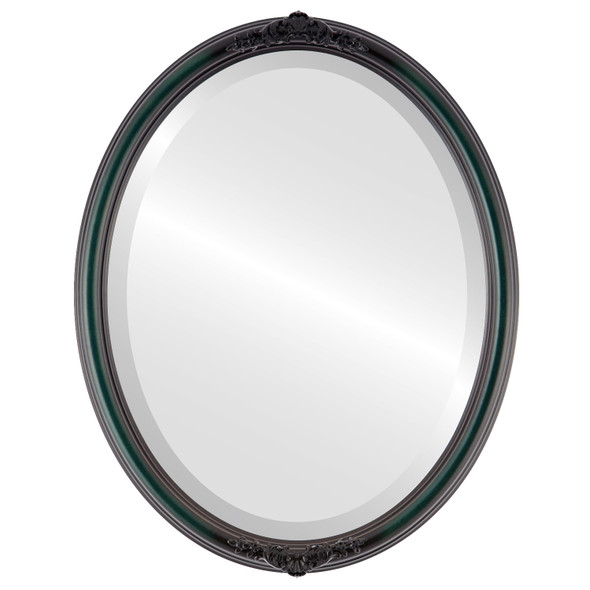 Beveled Mirror - Contessa Oval Frame - Hunter Green