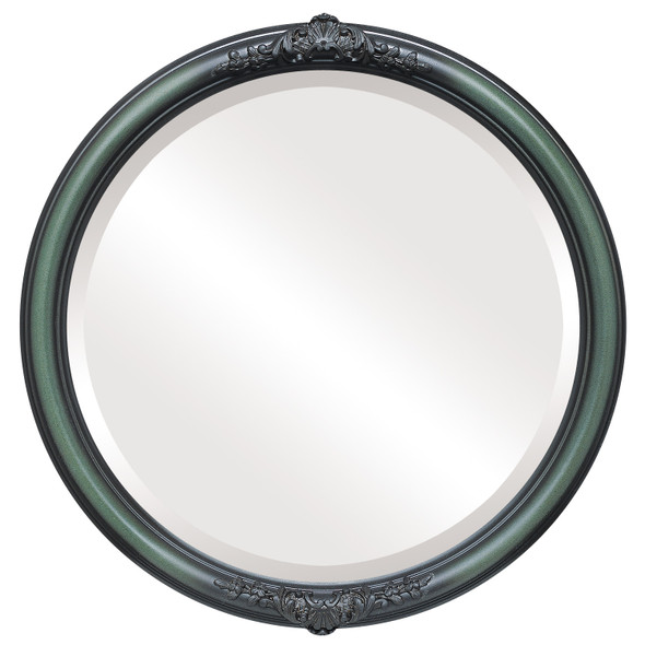 Beveled Mirror - Contessa Round Frame - Hunter Green
