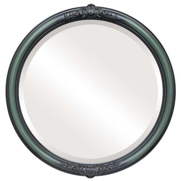 Beveled Mirror - Contessa Round Frame - Hunter Green