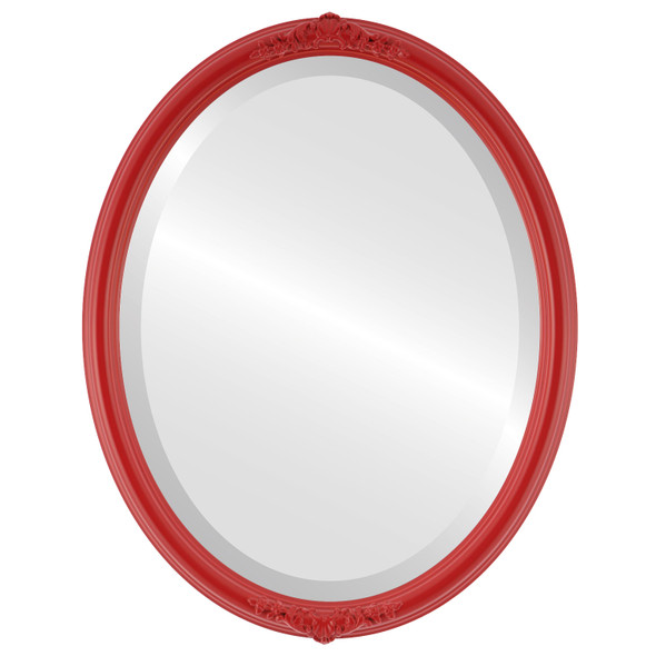 Beveled Mirror - Contessa Oval Frame - Holiday Red