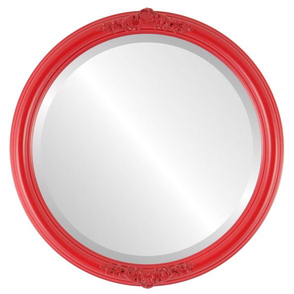 Beveled Mirror - Contessa Round Frame - Holiday Red